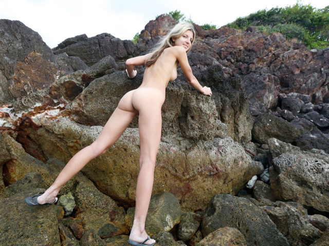 Stunning Blonde GF with tight ass naked on the rocks