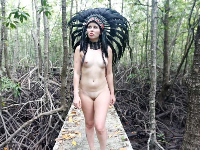 Naked on forest bridge