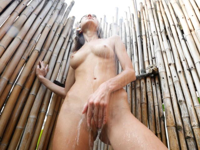 Outside Shower finger-Fuck