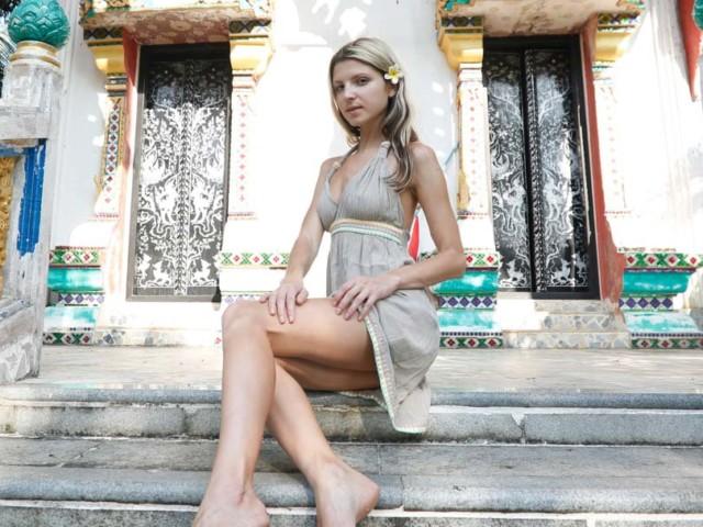 Short dress with long legs in public