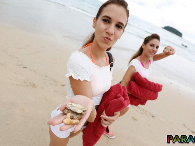 Frolicking around with Beach Bikini Twins