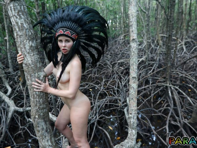 Nude Forest Nympho hugs tree