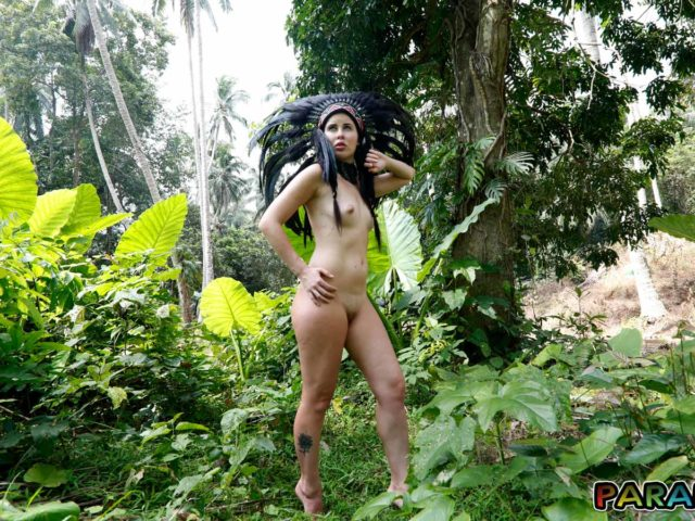 Nude in Forest with erect Nympho nipples standing firm in the wind