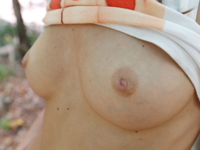 Closeup of tits in forest facial scene