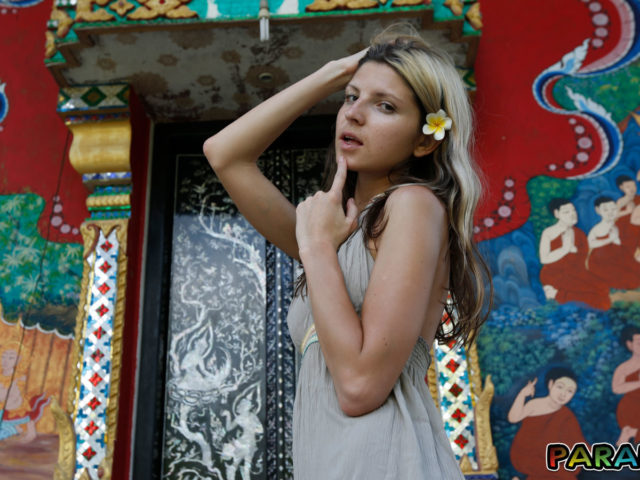 Playful Girlfriend Gina Gerson acting naughty at temple