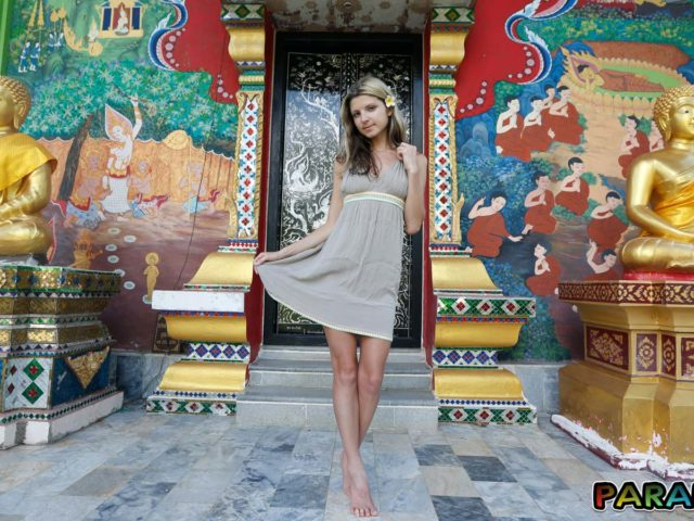 Playful Girlfriend Gina Gerson shows off her sexy legs in dress at nice temple