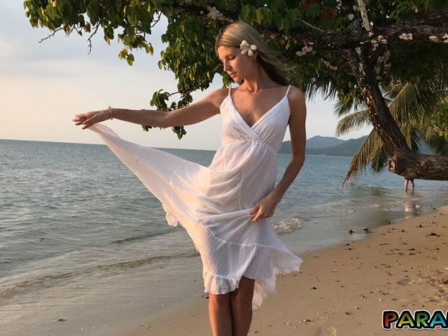 Playful Girlfriend Gina Gerson at beach