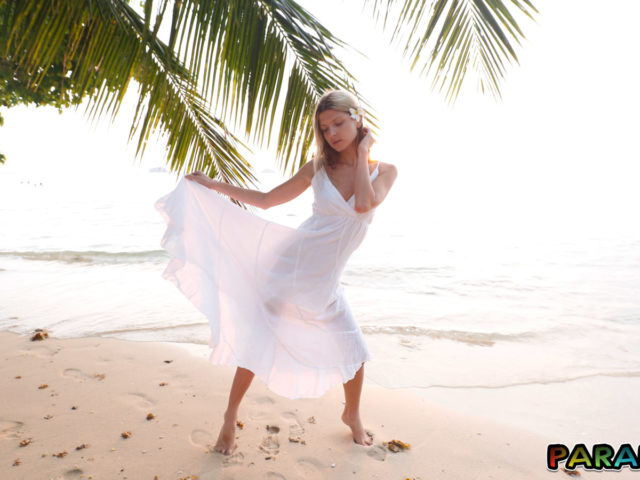 Playful Girlfriend Gina Gerson swings see-through dress in the sunset