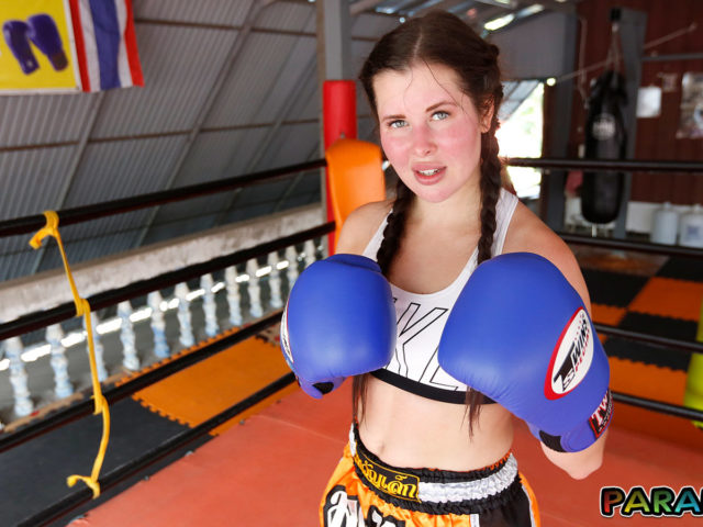 A kickass girlfriend with boxing gloves on