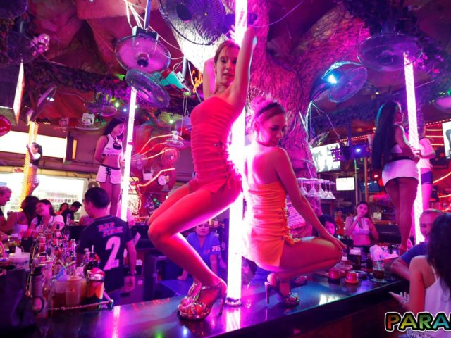 Horny Party Girls working the stripper pole
