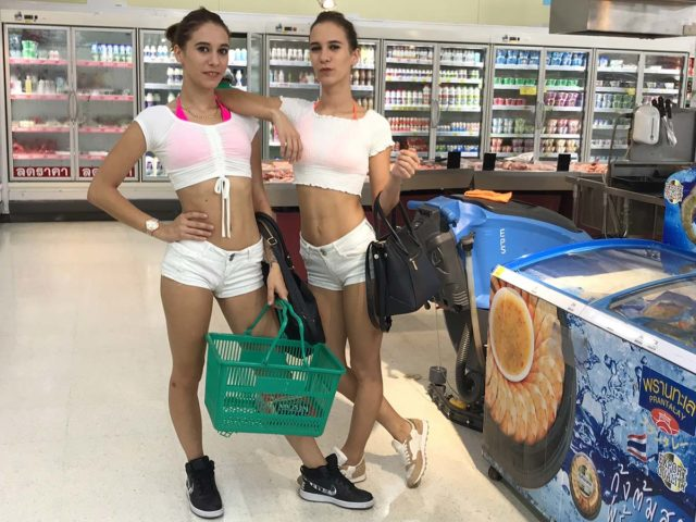 Out at the supermarket after our beach shoot