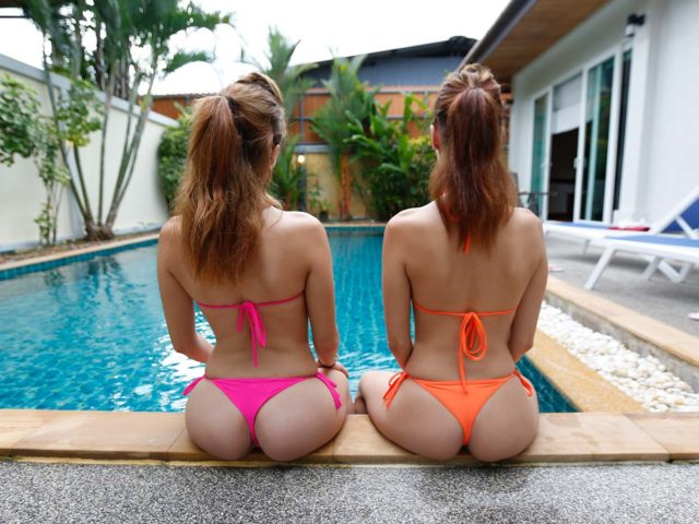 Small asses in thong bikinis