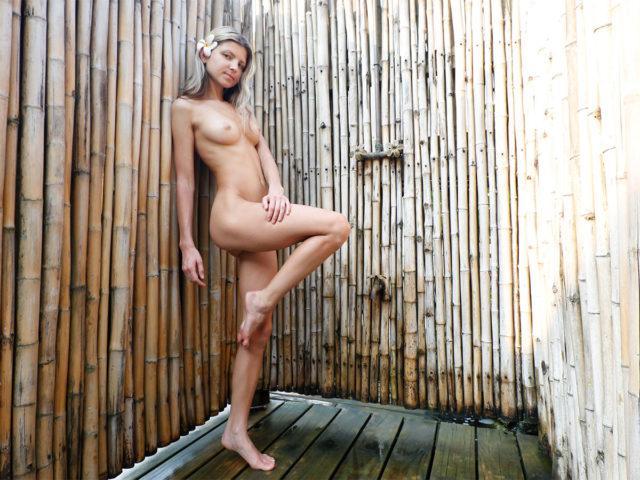 Posing sexy in shower