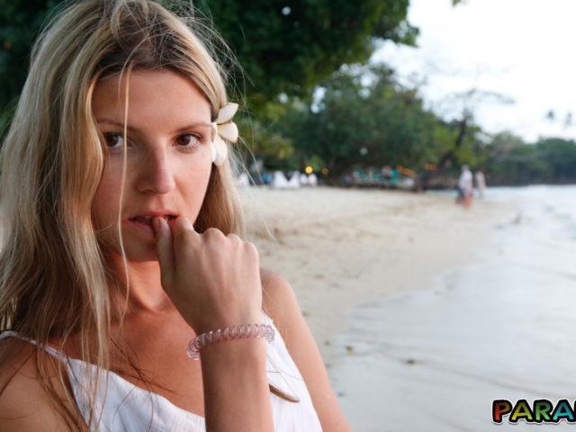 Cute but horny blonde gf at beach