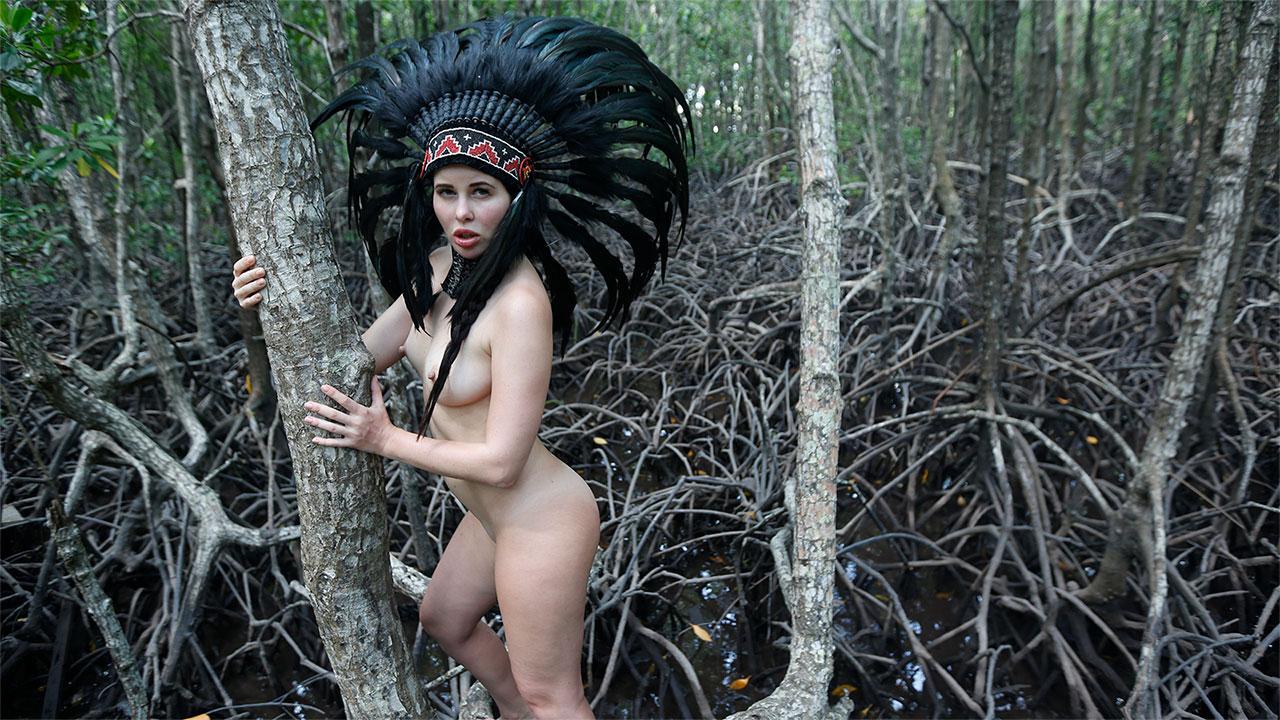 Nude In The Woods with Erect-nipple Cassie Fire